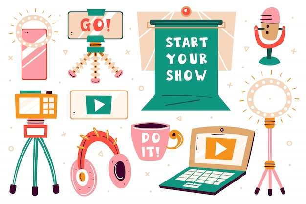 Rozpocznij zestaw programów. pozycja blogerów. ikona płaski kolorowy ilustracja
