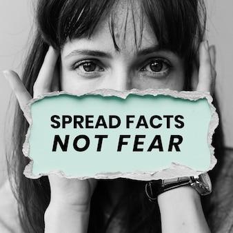 Rozpowszechniaj fakty, nie bój się szablonu wiadomości uświadamiającej o koronawirusie