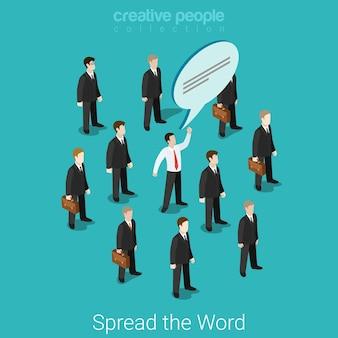 Rozpowszechniaj z ust do ust płaską izometryczną komunikację biznesową, marketing, koncepcja promocji pr grupa biznesmenów i jeden z bańką na czacie.