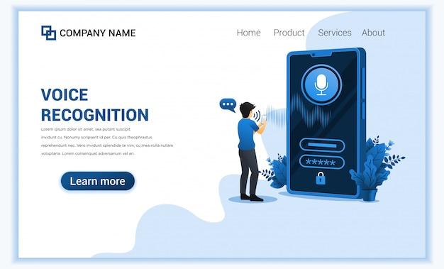 Rozpoznawanie głosu, identyfikacja bezpieczeństwa głosu z mężczyzną próbującym odblokować smartfona przez asystenta digital voice.