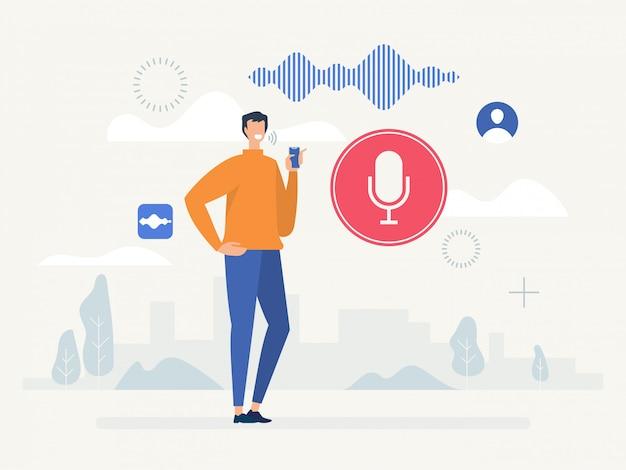 Rozpoznawanie głosu. koncepcja technologii asystenta osobistego inteligentnego głosu.
