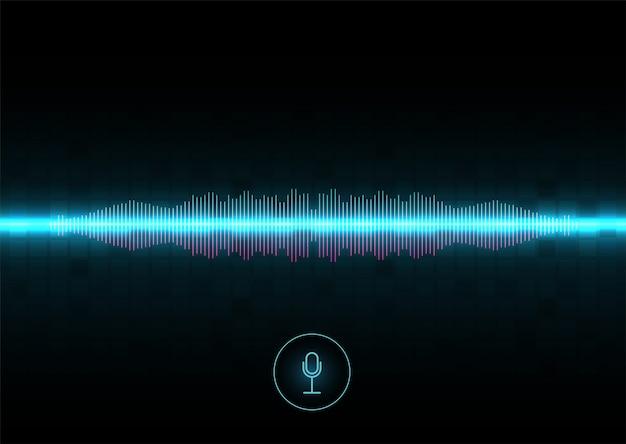 Rozpoznawanie głosu, korektor, rejestrator dźwięku. przycisk mikrofonu z falą dźwiękową. symbol inteligentnej technologii. zaawansowany głos asystenta ai, przepływ fali w tle, korektor.