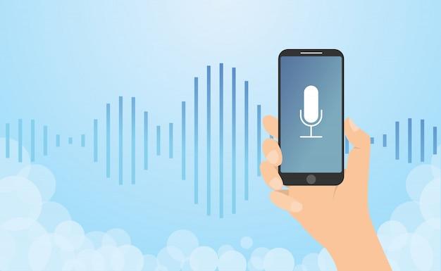 Rozpoznawanie głosu technologia z ręka chwyta smartphone i fala hałasu z nowożytnym mieszkaniem projektujemy - wektor