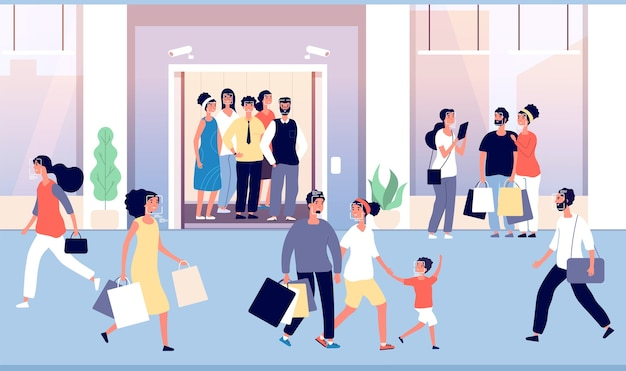 Rozpoznawanie ludzi w tłumie. faceci są rozpoznawani przez nowoczesne oprogramowanie do identyfikacji twarzy, kamerę cctv w windzie w hali. technologia identyfikacji twarzy, rozpoznawanie ludzi