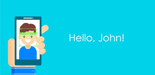 Rozpoznawanie twarzy i identyfikacja mobilna. youngman odblokowuje swój smartfon lub aplikację.
