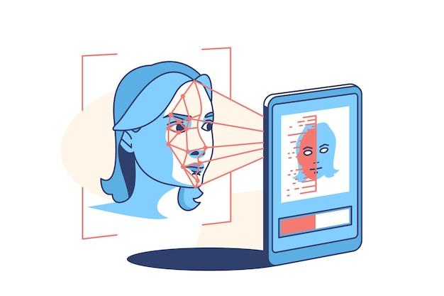 Rozpoznawanie twarzy i skanowanie ilustracji w stylu płaski