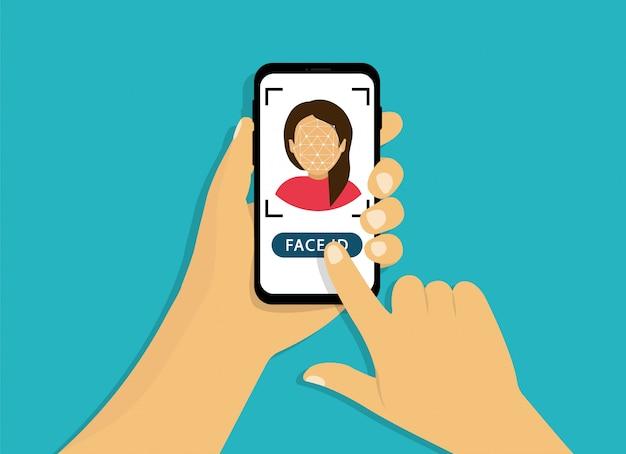 Rozpoznawanie twarzy. skanowanie twarzy. ręka trzyma telefon z identyfikatorem twarzy. styl kreskówki.