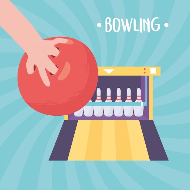 Rozproszona ręka z aleją z piłką i grą w kręgle sport rekreacyjny płaska konstrukcja ilustracji wektorowych