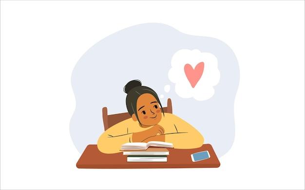 Rozproszona studentka z książkami młoda afro amerykanka myśli o miłości podczas nauki