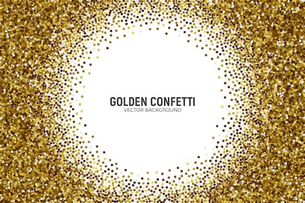 Rozproszone złote konfetti na białym tle
