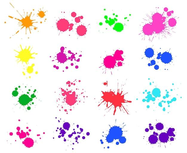 Rozpryski farby. jasne plamy atramentu i plamy w sprayu na białym tle. znajdź lub upuść elementy. kolekcja plam akwarelowych, płynne kolorowe plamy zestaw ilustracji wektorowych