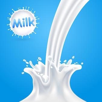 Rozpryski mleka, mleko splash niebieskie tło, ilustracji wektorowych