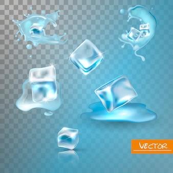 Rozpryski wody i zestaw kostek lodu.
