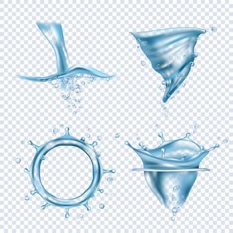 Rozpryski wody. krople deszczu płyny płynne obiekty przezroczyste plamy dynamiczny wir wodny wektor realistyczne zdjęcia