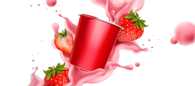 Rozpryskiwania jogurtu truskawkowego ze świeżymi owocami i pojemnikiem na kubek