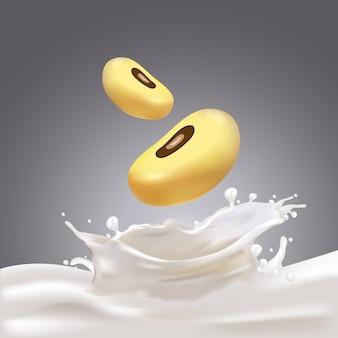 Rozpryskiwanie mleka sojowego.
