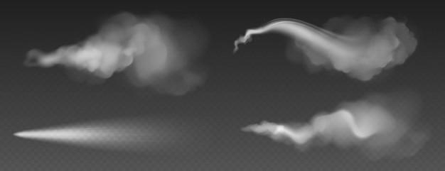 Rozpylony pył, biały dym, proszek lub krople wody