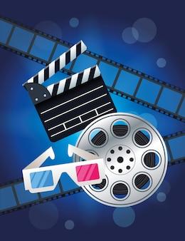 Rozrywka kinowa z ilustracją rolki i clapperboard