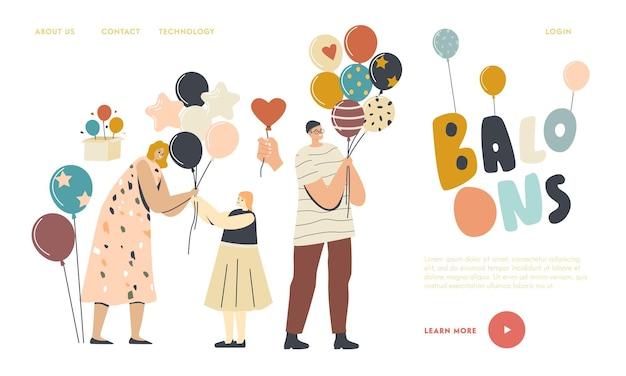 Rozrywka z animatorem, szablon strony docelowej obchodów urodzin. kobieta dająca balon małej dziewczynce, męskim lub żeńskim dorosłym postaciom trzymającym balony z helem. ilustracja wektorowa ludzi liniowych
