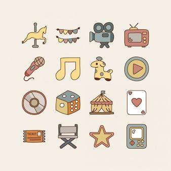 Rozrywka zestaw ikon doodle