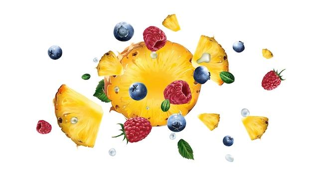 Rozrzucanie malin, kawałków ananasa i jagód na białym tle. realistyczna ilustracja.
