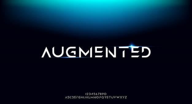 Rozszerzona, abstrakcyjna futurystyczna czcionka alfabetu z motywem technologicznym. nowoczesny minimalistyczny projekt typografii