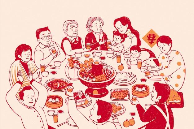 Rozszerzona rodzinna ożywiona kolacja zjazdowa w stylu linii na beżowym tle