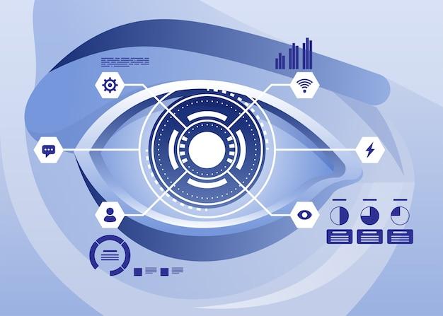 Rozszerzona rzeczywistość i przyszła koncepcja technologii biotechnologicznej. futurystyczny hologram nad okiem patrząc na wirtualną grafikę. ilustracja
