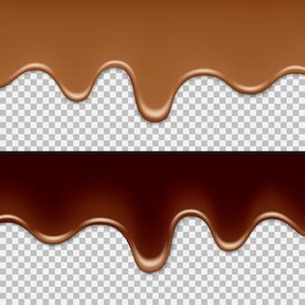 Roztopione mleko i ciemne czekoladowe przezroczyste tło.