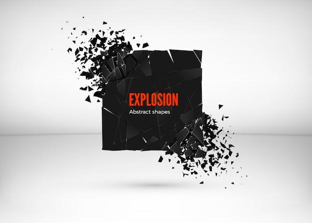 Roztrzaskanie i zniszczenie efektu ciemnego kwadratu. streszczenie chmura kawałków i fragmentów po wybuchu. ilustracja na szarym tle