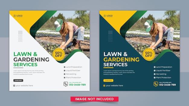Rozwiązania ogrodnicze lub usługi rolnicze post w mediach społecznościowych i szablon banera internetowego