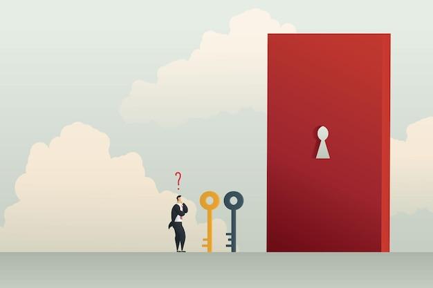 Rozwiązanie biznesowe z biznesmenem wybiera klucz, aby otworzyć dziurkę od klucza na czerwonych drzwiach