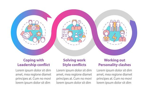 Rozwiązywanie konfliktów zespołu wektor infographic szablon. elementy projektu zarys prezentacji komunikacji. wizualizacja danych w 3 krokach. wykres informacyjny osi czasu procesu. układ przepływu pracy z ikonami linii