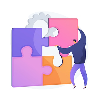 Rozwiązywanie problemów. kreatywna decyzja, trudne zadanie, myślenie lateralne. człowiek, montaż puzzle postać z kreskówki. właściwy wybór, brakujący przedmiot. ilustracja wektorowa na białym tle koncepcja metafora