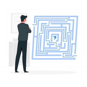 Rozwiązywanie problemów (labirynt) ilustracja koncepcja