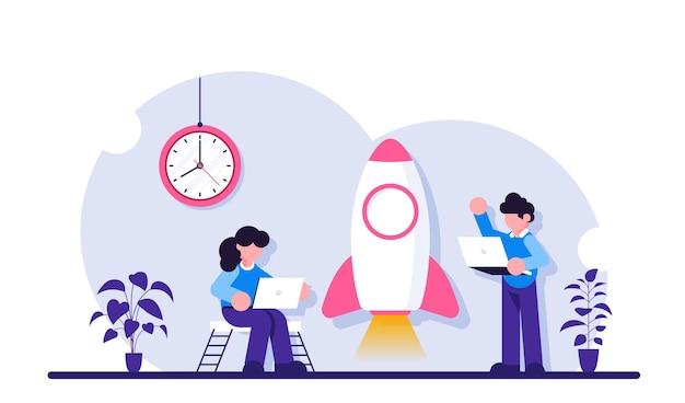 Rozwijaj biznes. ilustracja uruchamiania. w pobliżu rakiety stoją ludzie z laptopami.