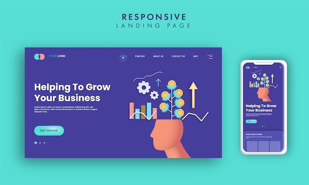 Rozwijaj projekt strony docelowej opartej na biznesie w kolorze niebieskim z ilustracją smartfona.