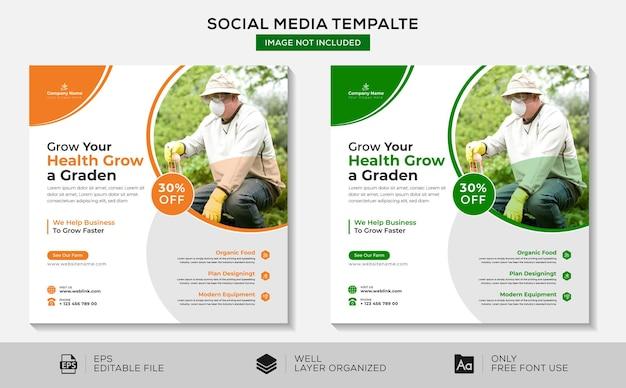 Rozwijaj swoje zdrowie, rozwijaj ogród w mediach społecznościowych i szablonie banerów
