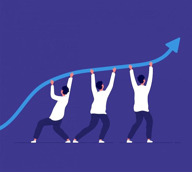 Rozwój działalności gospodarczej. ludzie wskazujący linię trendu. wyzwanie zespołowe i osiągnięcie korporacyjne. zwycięska koncepcja wektora strategii