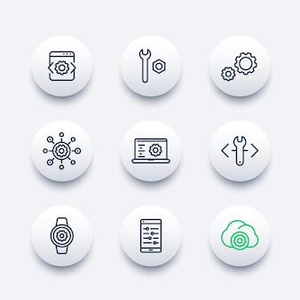 Rozwój, inżynieria, zestaw ikon linii konfiguracji dla aplikacji i sieci