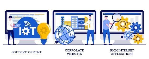 Rozwój iot, korporacyjna strona internetowa, koncepcja bogatych aplikacji internetowych z malutkimi ludźmi. usługi it wektor zestaw ilustracji. tworzenie stron internetowych, internet rzeczy, metafora projektowania interakcji z użytkownikiem.