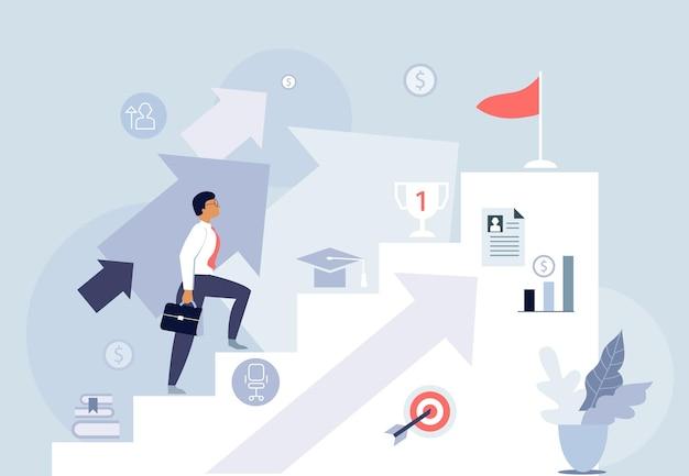 Rozwój kariery, ilustracja koncepcja planu i celów, szablony internetowe, baner wektorowy, płaska konstrukcja