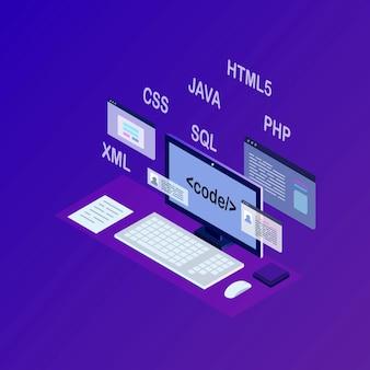 Rozwój oprogramowania, język programowania, kodowanie. technologia cyfrowa. izometryczny laptop, komputer