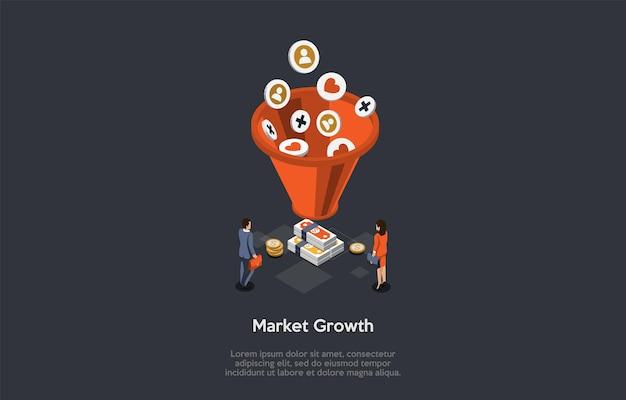 Rozwój rynku, koncepcja dobrobytu biznesu. partnerzy biznesowi stoją przed dużym koszykiem i stosami teczek trzymających pieniądze. różne ikony wpadają do koszyka. 3d izometryczny ilustracji wektorowych.