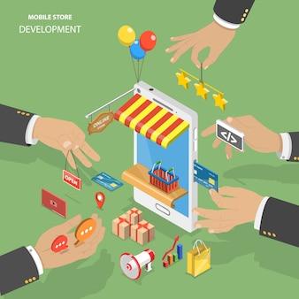 Rozwój sklepu mobilnego płaski izometryczny low poly wektor koncepcja.