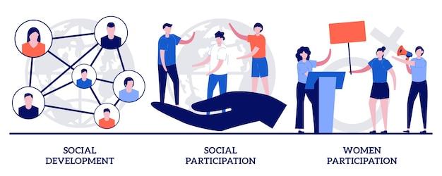 Rozwój społeczny i uczestnictwo, koncepcja udziału kobiet z małymi ludźmi. normy zachowania wektor zestaw ilustracji. zaangażowanie społeczne, zaangażowanie społeczne, metafora grupy społecznej.
