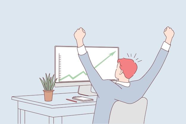 Rozwój, sukces, osiągnięcia w koncepcji biznesowej.