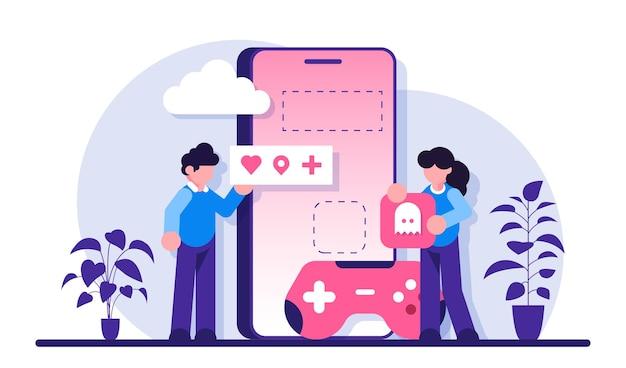 Rozwój świata wirtualnego, tworzenie gier mobilnych. programiści pracują nad stworzeniem gry.