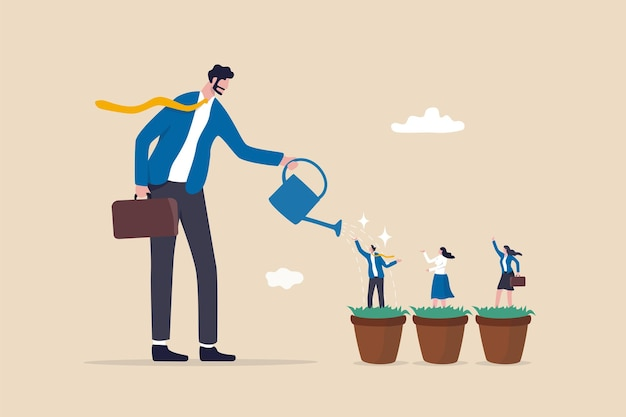 Rozwój talentów, rozwój kariery, personel szkoleniowy lub trenerski rozwija umiejętności, doskonalenie pracowników, koncepcja zasobów ludzkich hr, menedżer biznesmena podlewania utalentowanych pracowników wzrostu w doniczce do uprawy sadzonek.