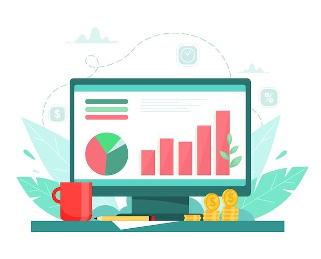 Rozwój wykresu biznesowego, udany projekt. wzrost finansowy. zysk. ilustracja wektorowa w stylu cartoon płaski.
